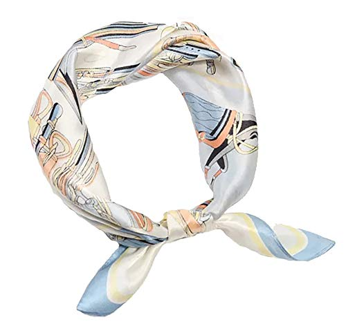 100% Pure Mulberry Silk Small Square Scarf -21'' x 21''- Breathable Lightweight Neckerchief -Digital Printed Headscarf (Light Blue) ()