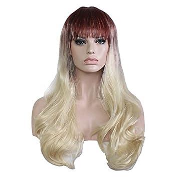 Nyrgyn 65cm Braun Rote Gemischte Perücke Lange Lockige Haare