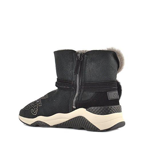 Ash MARIKA Shearling Boots Black Suede & Gunmetal Studs Black/Antic Gun lPoEa