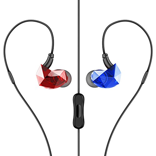 Yi-Tech E6Plus Sound Intone E6 Pro in-Ear Headphones Sport Running Earbuds Noise Isolating Headset with in-Line Mic - Translucent Red/Blue