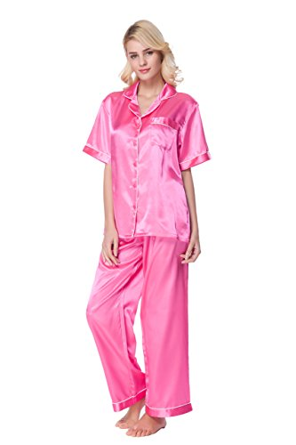 Sunrise Women's Short Sleeve Classtic Satin Pajama Set (Large, Pink) -