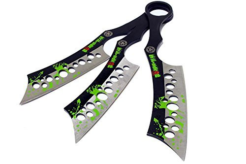 (Defender All Black Throwing Knives with Sheath (Set of 3) Set of 3 Zombie Green Blood Throwing Knives)