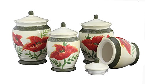 Tuscany Floral Poppy, Hand Painted Ceramic Canister, Set of 4, 84701 by ACK (Tuscany Kitchen Canisters)