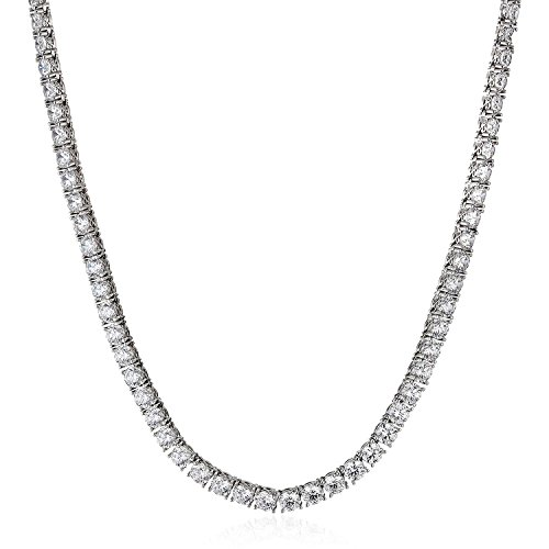 Unisex Sterling Silver 925 - AAA Cubic Zirconia 5MM Tennis Necklace 30'' by GotJewelry