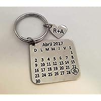 Llavero Calendario Aniversario Personalizado,corazón con iniciales