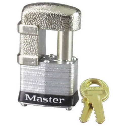Master Lock 37D Shrouded Laminated Steel Pin Tumbler Padlock, Keyed Different, 1-9/16-Inch Wide Body, Shackle Fits 9/32-Inch Or 1/2-Inch Diameter 4 Pin Tumbler Steel Padlock