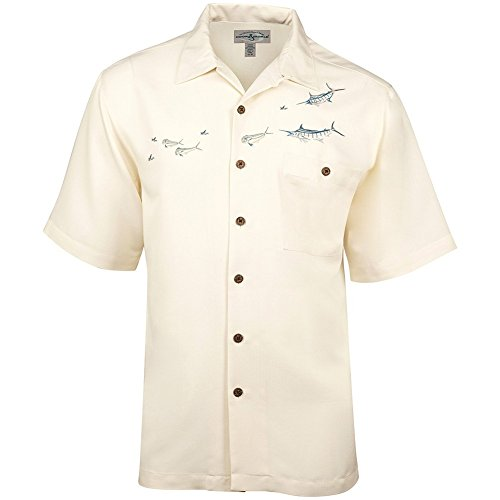 Hook & Tackle Men's Angler's Delight Short Sleeve Embroidered Fishing Shirt Ivory XLarge