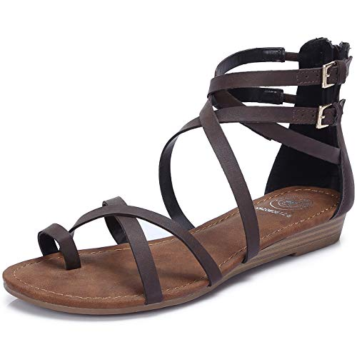CAMEL CROWN Gladiator Sandals for Women Crisscross Strappy Low Wedge Ankle Wrap Thong Sandals Flat Ankle Zip Adjustable Buckle Shoes for Summer Beach Dress