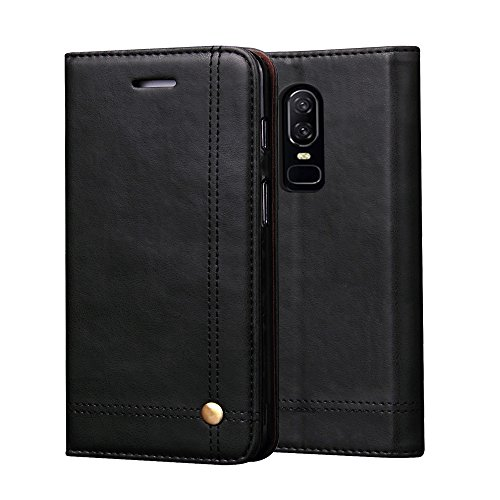 OnePlus 6 Case,Retro Wallet Case PU Leather Flip Carry Case Magnetic Protective Case With Card Slot For OnePlus 6,Black
