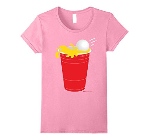 Womens Funny Beer Pong Drinking Champ T-Shirt Large (Beer Pong Womens Pink T-shirt)