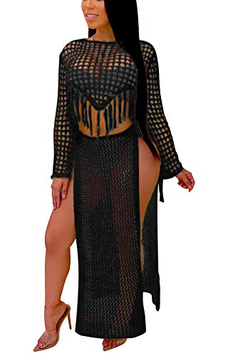 (Women's Sexy Tassel Cover Up - Two Piece Hollow Out Off Shoulder Crop Top + High Slit Maxi Skirt Small Solid Black)