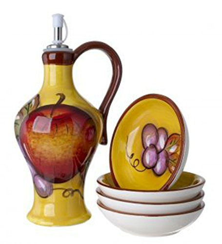 Ceramic Olive (Cucina Italiana Ceramic Olive Oil Dispenser Bottle, Cruet with Set of 4 Dipping Plates , Honey Yellow)
