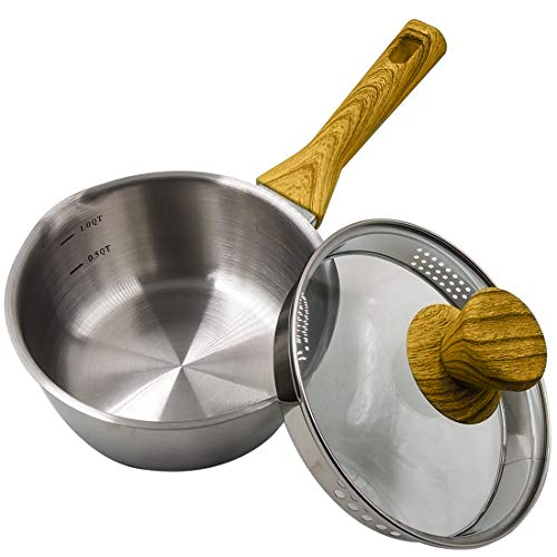 Momscook 1.5-Quart Saucepan Stainless Steel 3-Ply Bonded Saucepan with Glass Lid, Strainer Lid Cookware, Bakelite Handle with Wooden Soft Touch, Dishwasher Safe Sauce Pan
