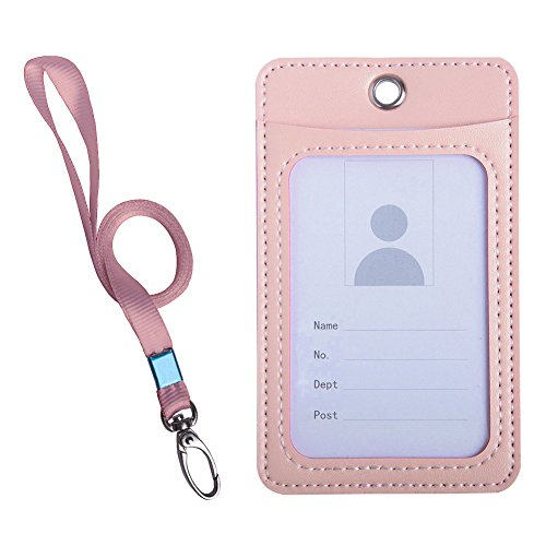 Indressme Multicolor Vertical Id Card Badge Holder with Lanyard (Pink)