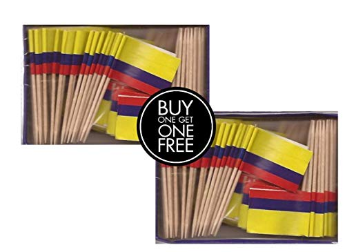 2 Boxes Mini Colombia Toothpick Flags, BOGO Buy 1 Box of 100 and Get Another Box Free, Total 200 Small Mini Colombian Flag Cupcake Toothpicks or Tiny Cocktail Sticks & Picks -