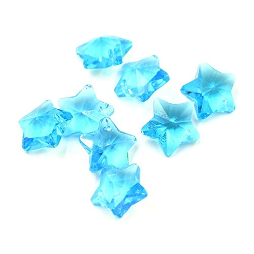 Calvas 20pcs/lot Charm Star Pendant Five-Star Shape Mixed 14MM Crystal Glass Faceted Loose Beads DIY Jewelry Design Supplies - (Color: Lake Blue) ()