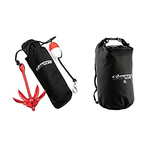 Compass Kayak Anchor Kit + Dry Bag for Jet Skis, Canoes, & Floats - 3.5 lb Steel Anchor with Anti-Rust Powder Red Coating, 40 ft Marine Grade Rope, Buoy, and Stainless Steel Snap - Inflatable Jet Ski