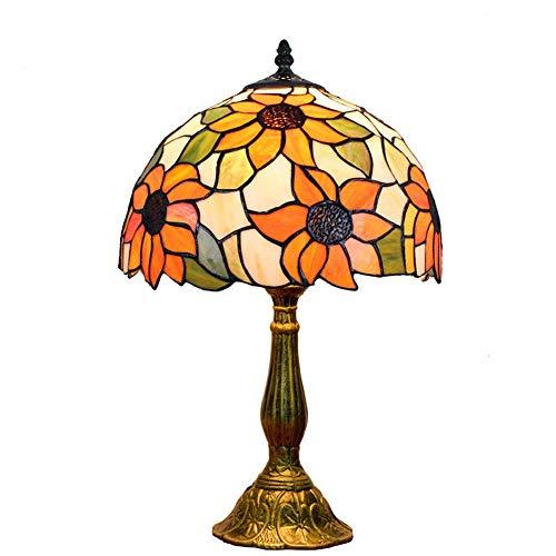GBYN Lampara de Mesa de Cristal Victoriano Retro Estilo Tiffany para Dormitorio Sala de Estar Mesa de cafe estanteria, 11 Pulgadas