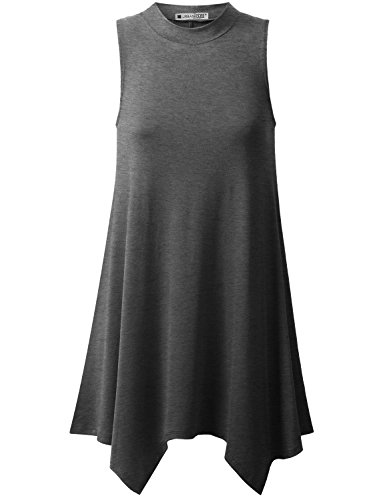 Mock Neck Tunic Top - URBANCLEO Womens Mock Neck Sleeveless Elong Tunic Top Shirt Charcoal Small
