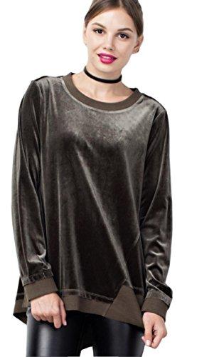 Velour Banded Bottom Pullover - 2