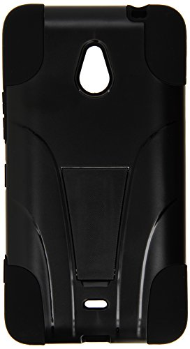 Amzer Double Layer Hybrid Case Cover with Kickstand for Nokia Lumia 1320 - Retail Packaging - Black