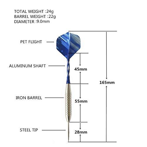 24 g con ejes de aluminio y 2 estilos de plumas 1 funda de metal Lemong Juego de 3 dardos de punta de acero