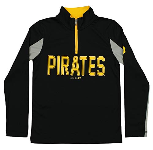 Pirate Youth Sweatshirt - Outerstuff MLB Youth Boys 1/4 Zip Performance Long Sleeve Top, Pittsburgh Pirates, Medium