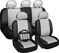 Motorup America Leather Auto Seat Cover Full Set - Fits Select Vehicles Car Truck Van SUV - White & Black