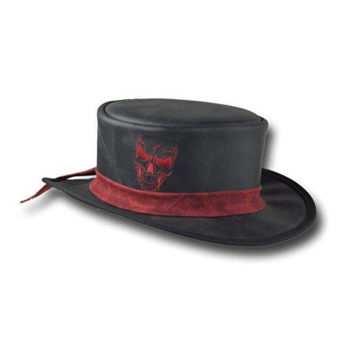 VE Adventures Short Leather Top Hat Skull Embroidery 3042BL (XLarge, Black)