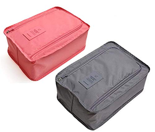 Price comparison product image Waterproof Portable Travel Shoe Organizer Bags Dust Proof Packing Cubes Box Storage Bag Tote Pouch Space Saver Accessory Pack 2(Grey, Pink)