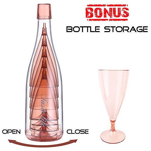 Unbreakable Plastic Wine Glasses with Cute Bottle Storage (Set of 5) Pink, Shatterproof Cups with Removable Stemmed Bottoms | Party, Hosting, and Home Kitchen | Reusable ()