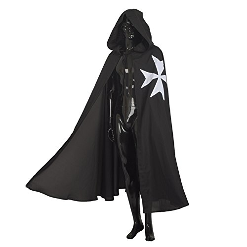 [Blessume Hospitaller Medieval Cloak with Maltese Cross, Black, One size] (Medieval Mens Costumes)