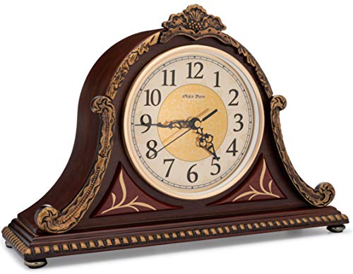Olden Days Mantel Clock with Real Wood, 4 Chime Options, Antique Vintage Design (Mantel Clocks Chime)