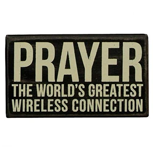 AT001 Wood Tabletop Plaque Prayer The World's Greatest Wireless Connection, Size: 7
