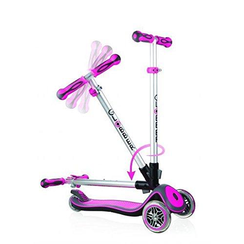 3 Wheel Scooter Elite - Globber Elite 3 Wheel Folding Adjustable Height Scooter (Pink)