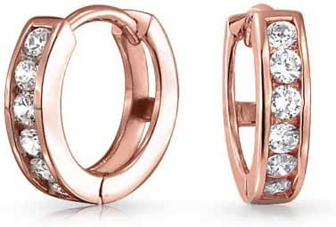 Bling Jewelry Rose Gold Plated Small CZ Huggie Hoop Earrings 925 Silver