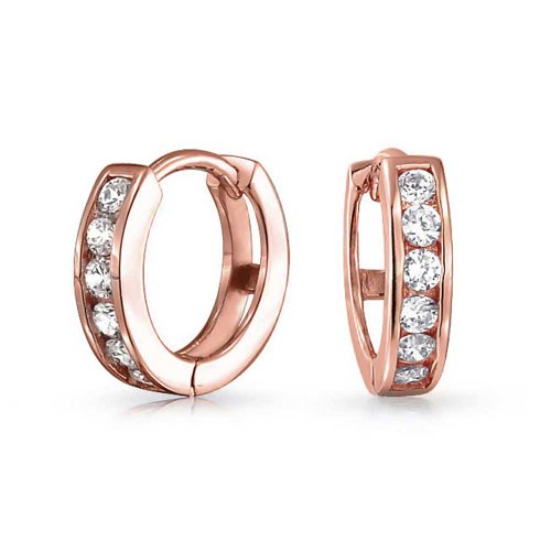 White Cubic Zirconia CZ Channel Set Small Kpop Huggie Hoop Earrings For Women 14K Rose Gold Plated 925 Sterling Silver
