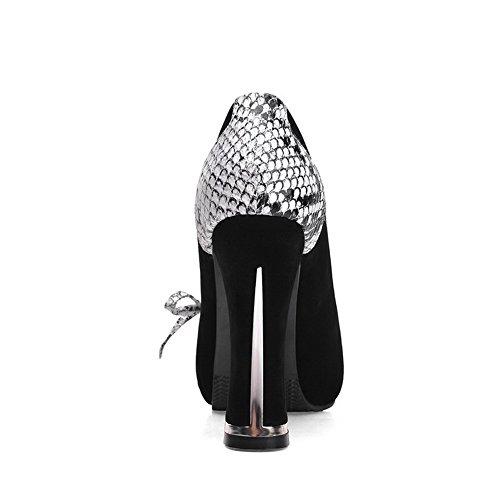 AllhqFashion Damen Rund Zehe Hoher Absatz Gemischte Farbe Ziehen auf Pumps Schuhe Schwarz