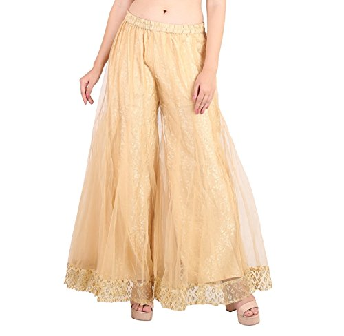 Silk Georgette Tunic - Shararat Women's Palazzo Pants Net Loose Flared High Waist Sharara Trouser Golden