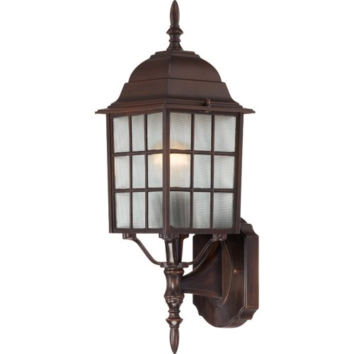 Nuvo Lighting 60/4902 Adams One Light Wall Lantern/Arm Up 100 Watt A19 Max. Frosted Glass Rustic Bronze Outdoor Fixture by Nuvo Lighting