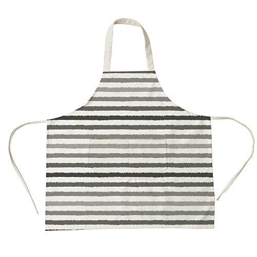nen Big Pocket Apron,Striped,Gray and White Stripes Monochrome Tone Brush Style Lines Grunge Retro Digital Print,White Grey,for Cooking Baking Gardening ()
