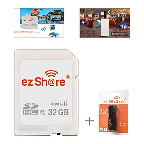 (ez Share 8GB 16GB 32GB Card Adater WiFi SD Memory Card WiFi SDHC Class10 SD Card Wireless Camera Memory Card for Camera (32GB))
