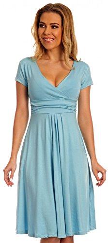 Glamour Empire Women's Knee Length Short Sleeve Jersey Skater Summer Dress 108 (Light Blue, 14)
