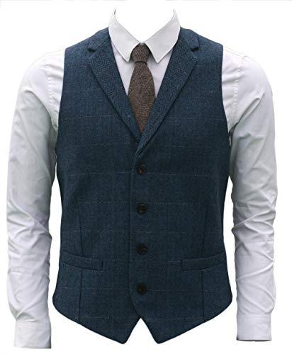 82a2e0a7c3a0a7 Ruth Boaz 2Pockets 4Buttons Wool Herringbone Plaid Tailored Collar Suit  Vest (XXXXL