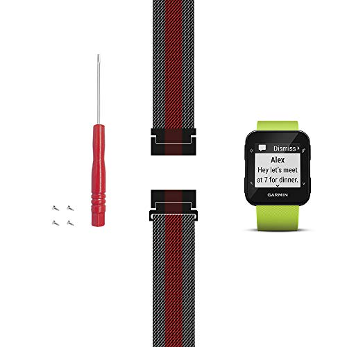 C2D JOY Compatible with Garmin Forerunner 30 and 35 Replacement Band with Screw and Screwdriver, Fashion watchband for Daily wear Soft, Breathable Metal Weave - Black/Red, Large