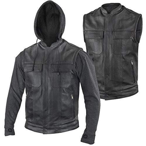 (Xelement BXU1006 'Jax' Men's Black Leather Motorcycle Hoodie Jacket with Convertible Vest - X-Large)