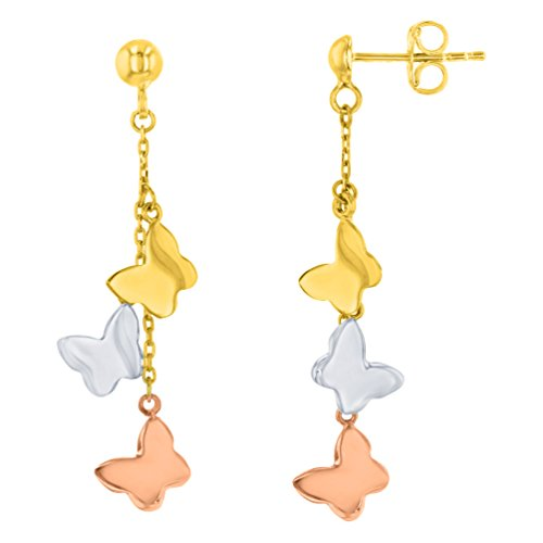 Solid 14K Tri-Color Gold Three Butterfly Dangling Earrings by Jewelry America