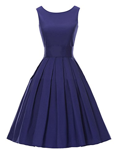 Cocktailkleider 50s Retro Damen vintage Ärmellos Sommer Faltenrock Partykleid Blau AWEIDS fItq8xq