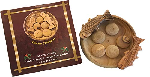 Holy Land Market Fish and Bread Multiplication - Two Fish and Five Loaves Carved from Olive Wood of Bethlehem (3.5 inch Plate)