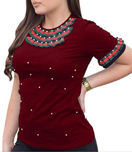 Jaycargogo Women Scoop Neck Short Sleeve Beads Slim Fit Summer T-Shirt Top 1 XL